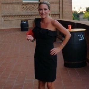 Black halo one shoulder ruffle dress